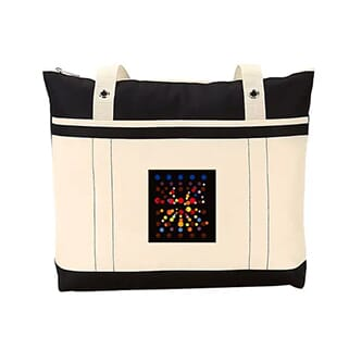 Cream and black tote bag with multicolored square logo