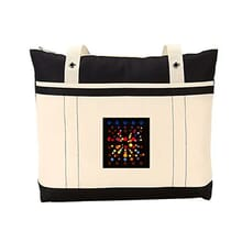Cream and black tote bag with multicolored square logo