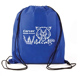 Blue drawstring backpack with white logo and black string straps