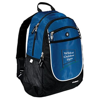 Blue and black backpack with white logo