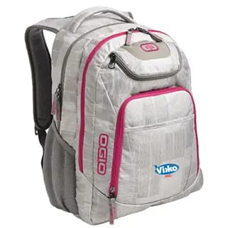 White and gray backpack with pink trim and a white and blue logo