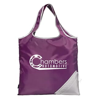 Deep purple and white polyester tote with white logo