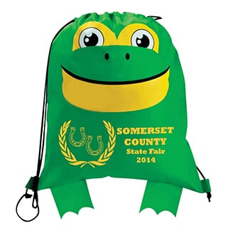 Green drawstring backpack decorated to look like a frog, with a yellow imprinted logo