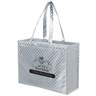 Silver metallic tote bag with black logo