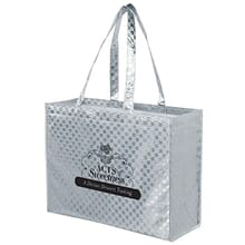 Silver metallic tote bag with black logo
