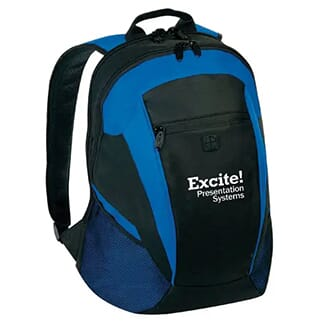 Black and blue backpack with black, white and green embroidered logo