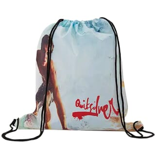 Drawstring backpack decorated with multicolored photo of a man surfing and a red logo