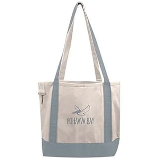 Gray and cream canvas tote bag with gray logo