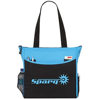 Black and bright blue tote bag with bright blue logo