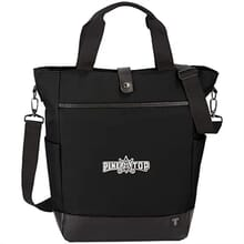 Black laptop tote with shoulder strap and white logo