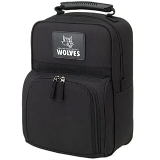 Black zip-up travel shoe bag with rubber handle and a black and white leather logo