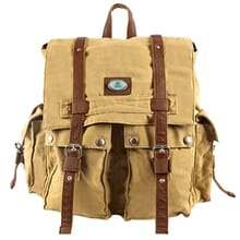 Beige canvas backpack with brown leather trim and green and white logo