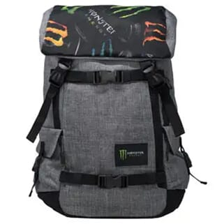 Gray backpack with black trim and multicolored logos