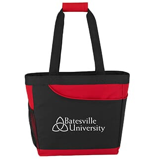 Red and black cooler tote