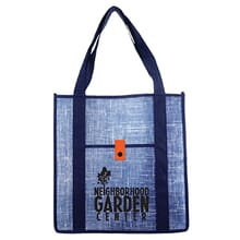 Blue denim looking shopping tote