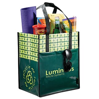 Green recycled laminated grocery tote