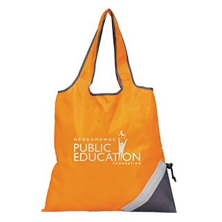 Orange shopping tote that folds up into built-in pocket