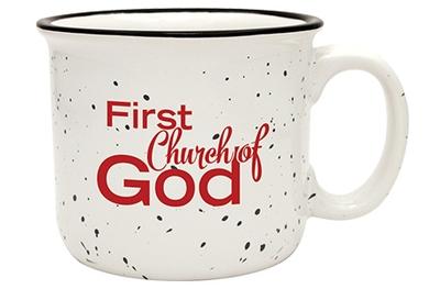 White and black camp mug with church logo