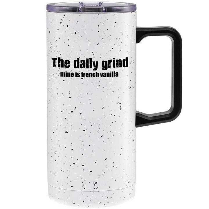 Travel mug with coffee quote