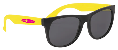 Rubberized horn-rimmed sunglasses with black frames, yellow arms and a red logo