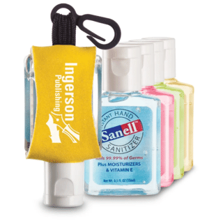 Plastic bottle of Sanell hand sanitizer with yellow nylon sleeve, white logo and black plastic clip