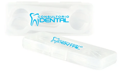 Clear plastic case full of floss picks and decorated with blue logo.