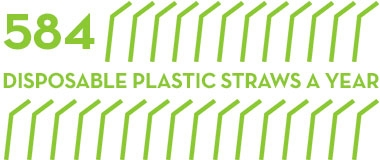 1 reusable straw can save 584 disposable plastic straws a year