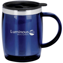 Blue metallic travel mug with stainless steel rim