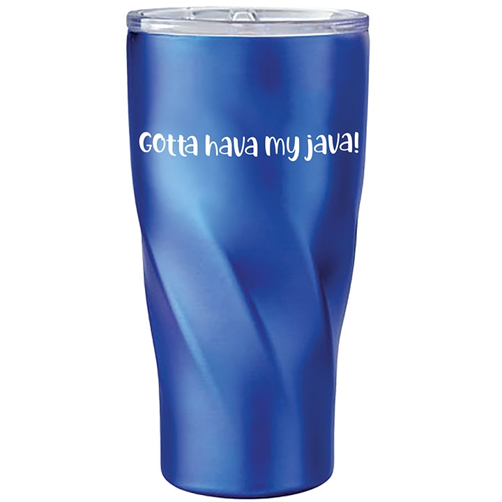 Stainless steel travel mug with funny coffee saying