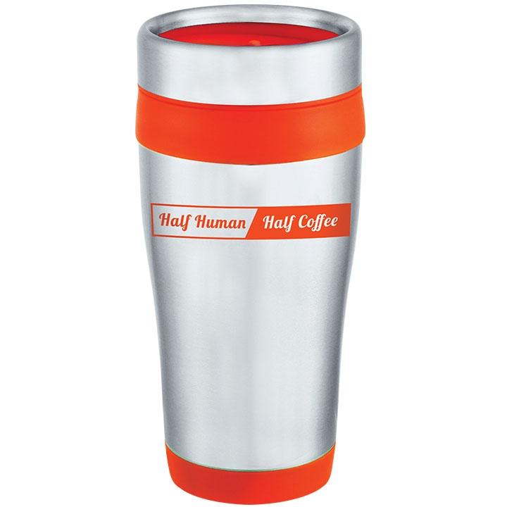 Travel mug with funny coffee saying