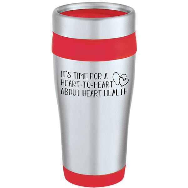 Insulated Travel Mug with Heart Health Slogan