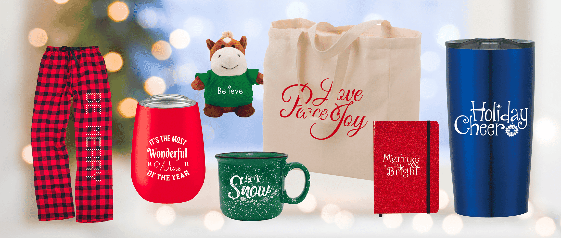 Holiday designs on promotional product gifts