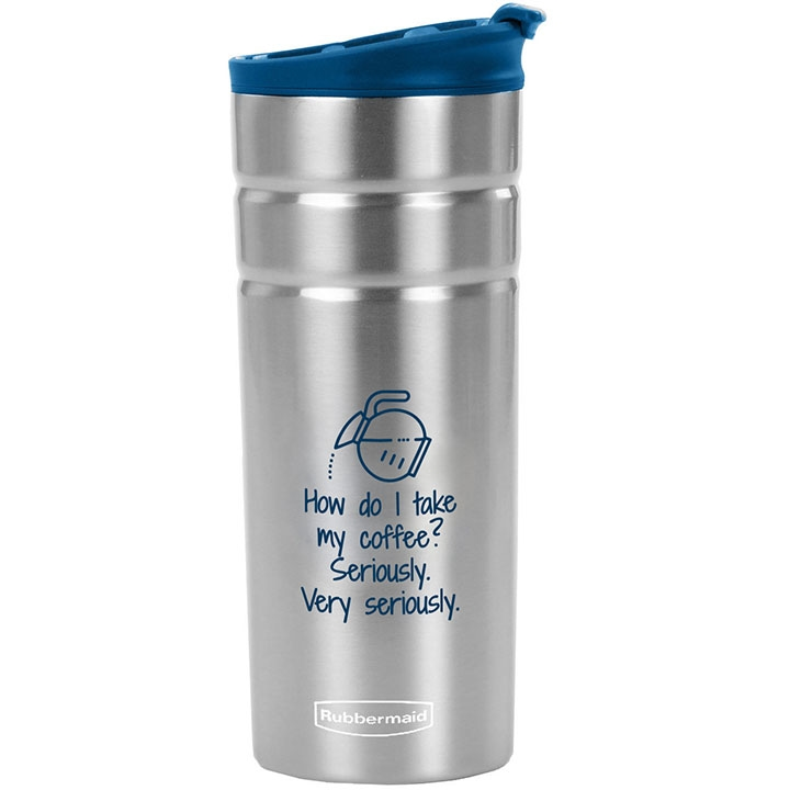 Rubbermaid travel coffee mug with quote