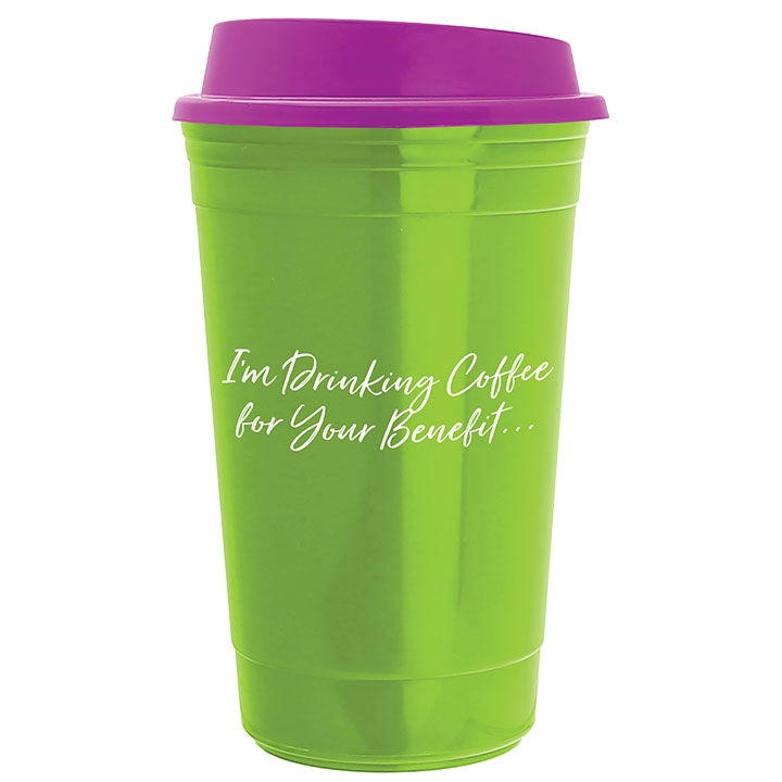 Insulated travel coffee cup with coffee quote