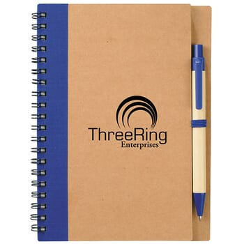Blue eco-friendly notebook and pen set
