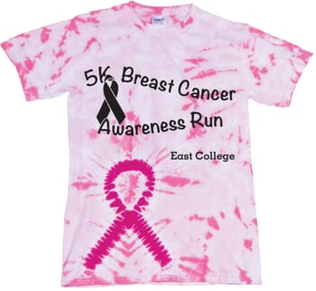 pink tie-dye breast cancer awareness t-shirt