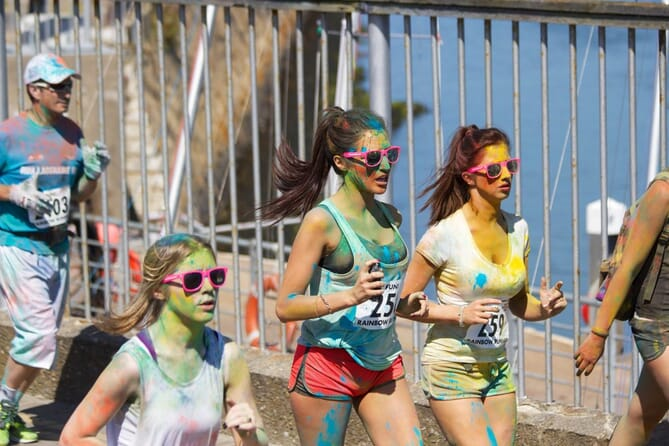 Color run group wearing custom sunglasses