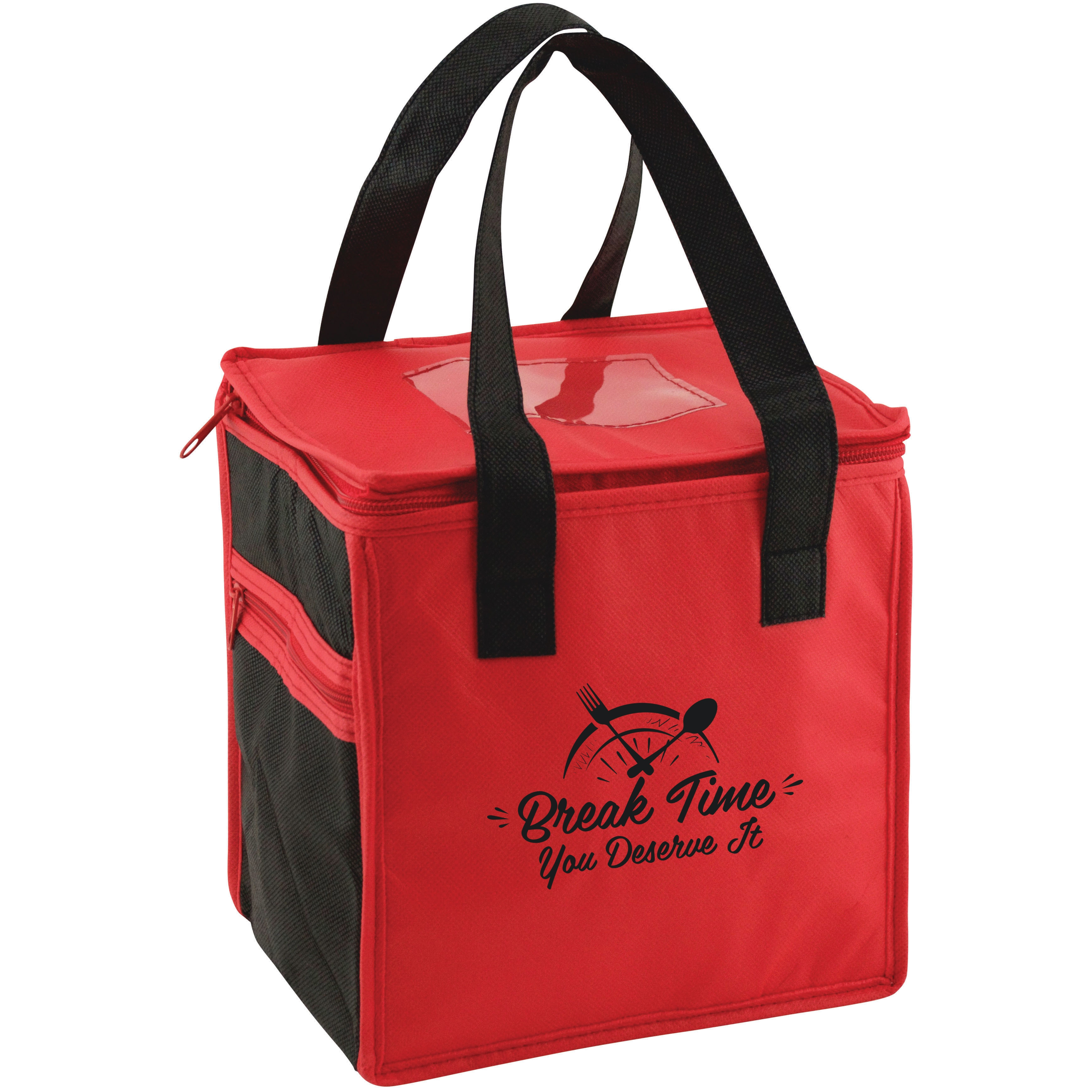 Red and black lunch cooler bag with nurse appreciation saying