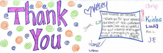 My Place Teen Center Thank You Note