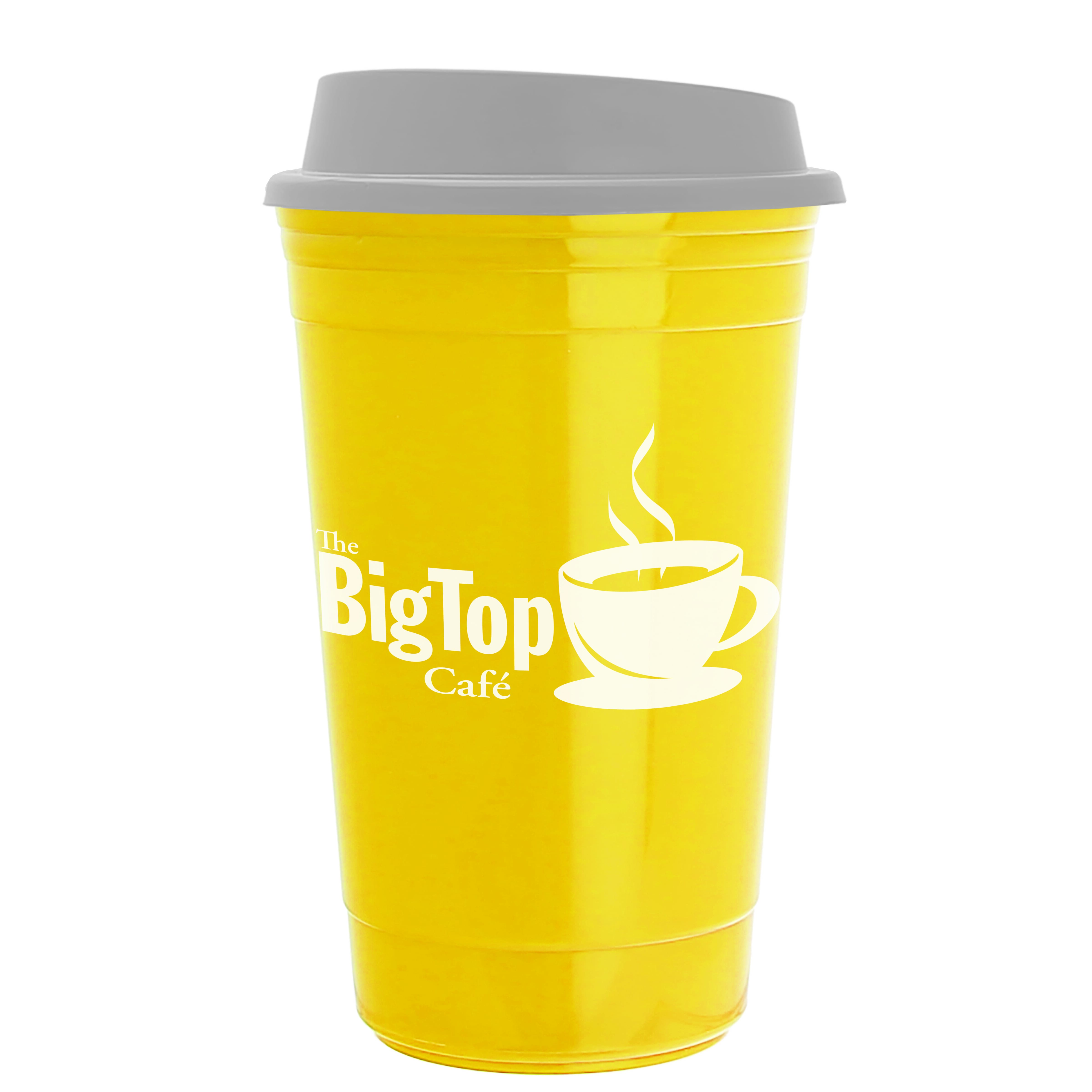 Yellow customized reusable coffee cup