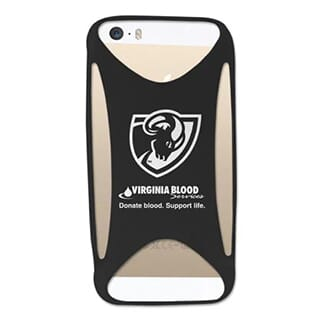 Black silicone cutout phone case with white logo attached to gold iPhone