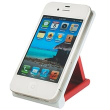 White and red phone stand holding a white iPhone