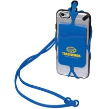 Blue silicone phone holder with lanyard and yellow logo attached to silver iPhone