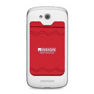 Red phone wallet with white logo attached to back of white smartphone