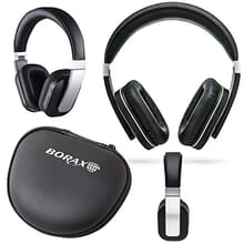 Black and silver over-the-ear headphones and black carrying case with white logo