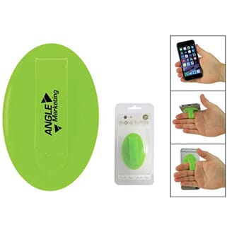 Green silicone oval with black logo and holding loop