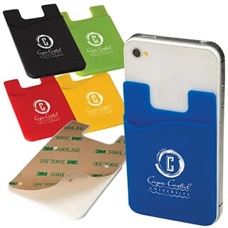 Blue silicone phone wallet with white logo attached to the back of a white smartphone