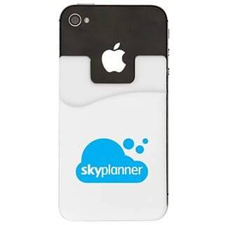White silicone phone wallet with blue logo attached to the back of a black iPhone