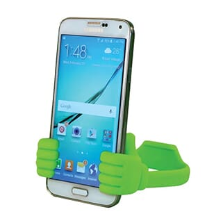 Green silicone phone holder in the shape of two hands giving a thumbs up holding white smartphone
