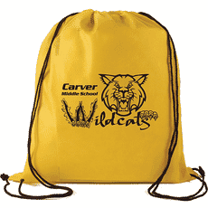 Yellow drawsting backapck with logo made of polypropylene material